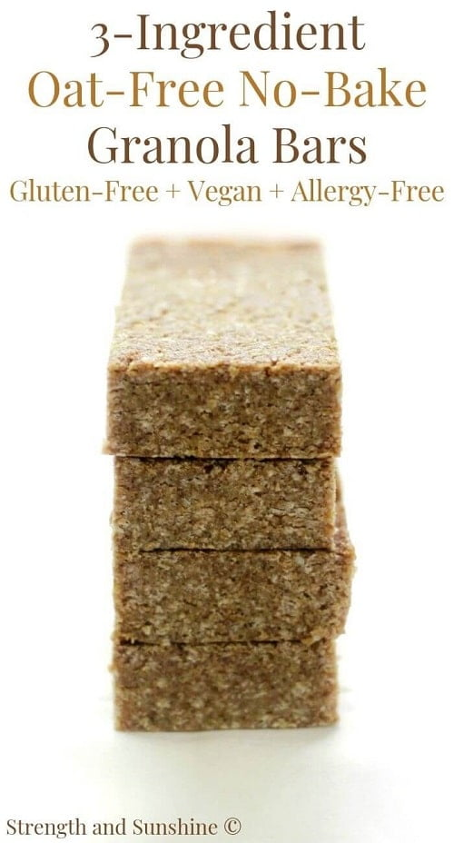 three ingredient no bake granola bars gluten free hiking snacks